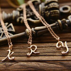 18金 K18 ピンクゴールド ダイヤモンド イニシャル ネックレス 天然ダイヤ…