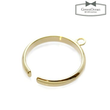 【アクセサリー金具】カン付リング 細  《きれいめゴールド》 [繋げる,指輪,皿,ゆびわ,金具,フリー]