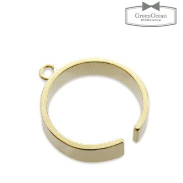 【アクセサリー金具】カン付リング 太  《きれいめゴールド》 [繋げる,指輪,皿,ゆびわ,金具,フリー]