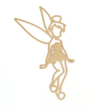 【メタルチャーム】ティンカーベル B  《きれいめゴールド》【王妃 お姫様 シンデレラ 人魚姫 ジャスミン オーロラ姫 ティンカーベル ディズニー 薄い 透かし 童話 ビーズアンドパーツ アクセサリーパーツ】