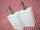 白い陶器のディスペンサー2個セット:イカリ柄(シャンプー リンス 入れ)spa-NLLF2053B,C/コンディショナー/洗面・風呂・カントリー雑貨【箱60】