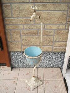 セール★蛇口付きタップスタンドプランター 白×ブルーUS201カントリー雑貨・ガーデニング・鉢