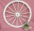 アンティーク風ガーデンウィール(L)白・木製車輪/ガーデニング/カントリー雑貨・ガーデニング