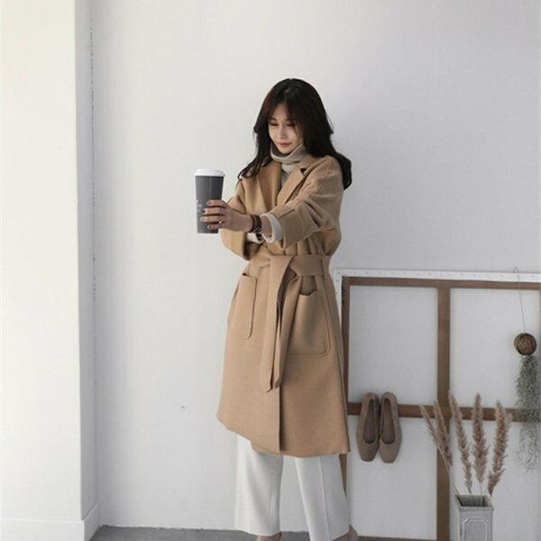 韓国ファッションダスターコートジャケット女性らしいレディーストレンチコート(T)