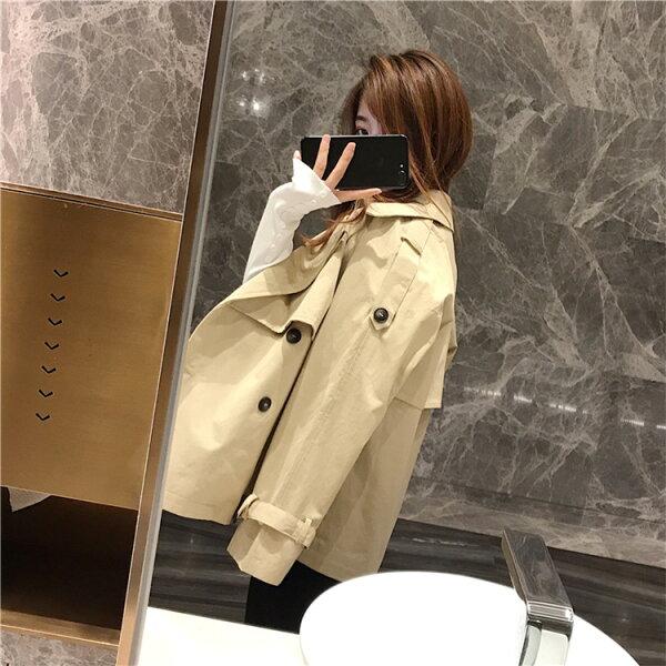 韓国ファッションショート丈女性らしいトレンチコート(T)