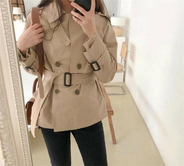 AW韓国ファッションショート丈ギャザリングトレンチコートダブルボタン減齢(T)