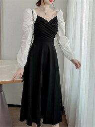 体型カバー 韓国ファッション カラーマッチング エレガント 縫付(T)