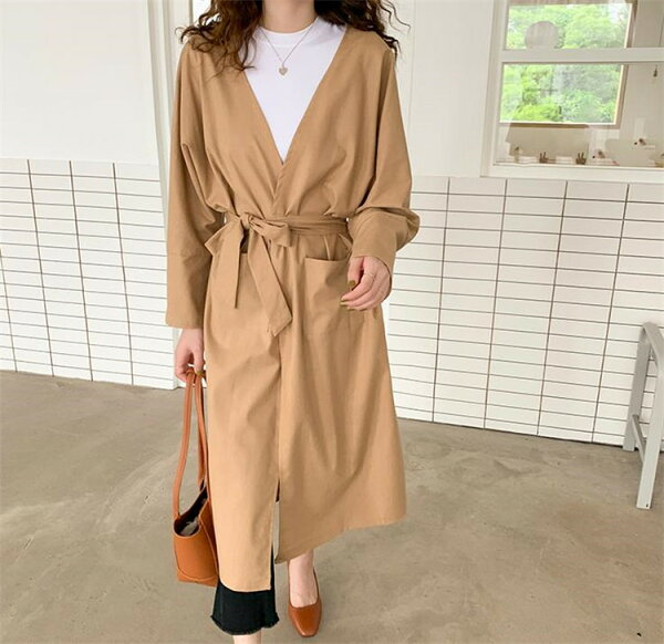 も使える韓国ファッションリネンゆったりスリミングテンペラメントトレンチコート(T)