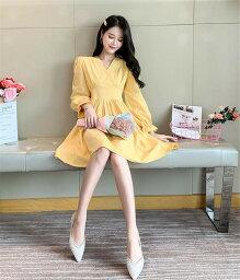 海外セレブ おしゃれ 韓国ファッション Vネック ミニスカート ワンピース 長袖 ホーンスリーブ(T)