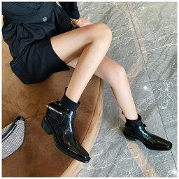 韓国ファッション 個性 ブーツ 女性 イギリス風 超クール 炸街 太いヒール ショートブーツ(T)