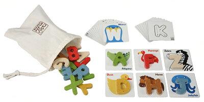 【レビューを書いてプレゼント】プラントイ 木のおもちゃ アルファベットA-Z 動物 知育玩具 英...