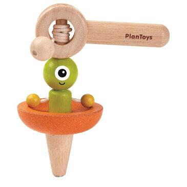木のおもちゃ プラントイ PLANTOYS 宇宙船コマ 駒 人形が回転 紐を引っ張る 知育玩具