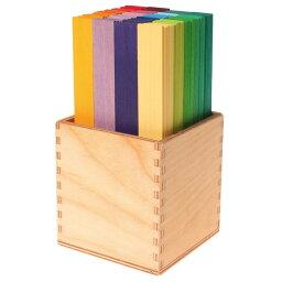 グリムス社 木のおもちゃ ドイツ製 GRIMMS カラースティック 20色木箱付き ドーム作り 木製玩具 知育玩具 積木 積み木
