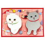 jetoy ジェトイ choochoo本舗 猫雑貨 猫の玄関マット 2匹のネコ レッド バスマット ねこ 【あす楽対応】