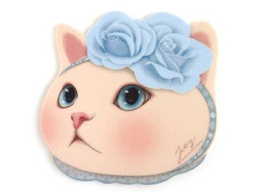 jetoy ジェトイ choochoo本舗 猫雑貨 かわいい白猫のマウスパッド ネコの顔型 滑りにくい ブルーローズねこ 【あす楽対応】