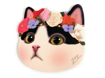 jetoy ジェトイ choochoo本舗 猫雑貨 かわいい白黒猫のマウスパッド ネコの顔型 滑りにくい フラワー ねこ 【あす楽対応】