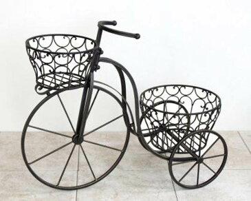 アイアン製プランター トライシクル ダークブラウン 自転車 鉢置き 花置き台 ガーデンオブジェ 玄関 庭 飾り ガーデニング アンティーク 雑貨