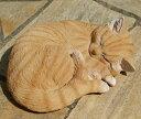【レビューを書いてプレゼント】ガーデンオーナメント 眠り猫 茶トラねこ ネコ 置物 オブジェ ...