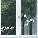 ウォールステッカー ハウスジーダ 小鳥と枝 ホワイト 窓ガラスに 壁紙...