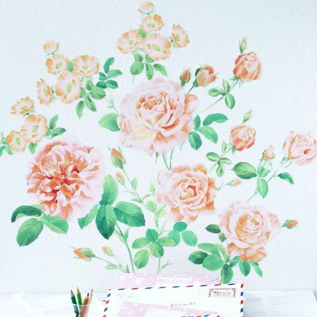 ウォールステッカー ハウスジーダ オレンジローズ フラワーインテリア 薔薇の壁紙インテリアシール バラの壁飾り インテリア雑貨 模様替えに Hausgida 【あす楽対応】