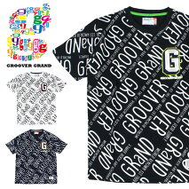 GROOVERGRANDグルーバーグランドTシャツメンズ半袖TシャツTee総柄刺繍ロゴプリントXXL2XL2L3L大きいサイズストリート系ファッションダンスB系かっこいいブラックホワイトネイビー