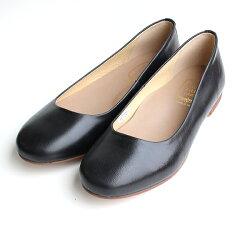 【2016春夏新作】L'avenue/ラベニュー103レザーフラットシューズブラック|ground|靴|