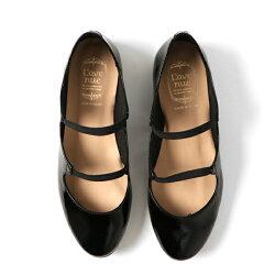 【定価\14,500→\11,600】【2017秋冬】L'avenue/ラヴェニューZ663ラウンドトゥエナメルフラットシューズブラック ground 靴 【返品交換不可】