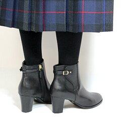 【2017秋冬】L'avenue/ラヴェニュー5015リアルレザーサイドジップベルトショートブーツブラックダークブラウングレイ|ground|靴|サイドゴア