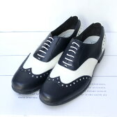 【送料無料】【2017春夏先行予約】TRAVEL SHOES by chausser(トラベルシューズバイショセ) TR-004 ウィングチップマニッシュシューズ ネイビー×ホワイトコンビ ground 靴 