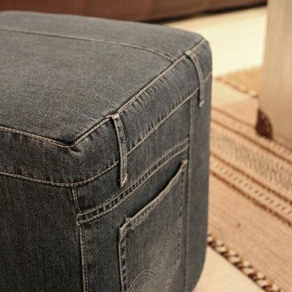 商品名|デニムスツール02椅子サイズ|幅35奥行35高さ41cm正方形主素材|デニムコットン送料無料送料込みキッズルームのあるお店にも♪1人掛けソファジーンズ生地縫製
