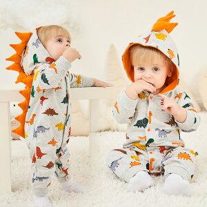 ベビー ロンパース 男の子 女の子 恐竜 怪獣 お宮参り 男の子 ロンパース かわいい 長袖 フード 前開き ベビー服 赤ちゃん コスプレ 出産祝い 新生児 60 70 80 90 カバーオール 赤ちゃん キッズ お祝い ハロウィン 仮装