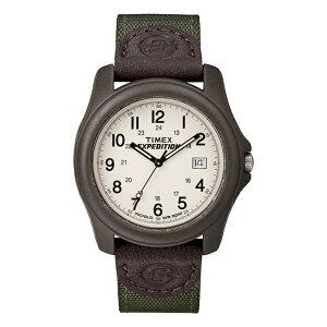 【日本未発売】TIMEX タイメックス エクスペディション キャンパー T49101 腕時計 メンズ レディース ミリタリー アナログ ブラウン 茶 ホワイト 白 レザー 革ベルト 海外モデル