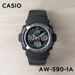 【10年保証】CASIO G-SHOCK カシオ Gショック AW-590-1A 腕時計 メンズ キッズ 子供 男の子 アナデジ 防水 ブラック 黒 シルバー