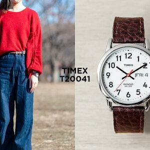 【日本未発売】TIMEX タイメックス イージーリーダー デイデイト 35MM T20041 腕時計 メンズ レディース アナログ シルバー ホワイト 白 レザー 革ベルト 海外モデル