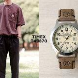 【日本未発売】TIMEX タイメックス エクスペディション メタル フィールド 39MM T49870 腕時計 メンズ レディース ミリタリー アナログ シルバー アイボリー レザー 革ベルト 海外モデル