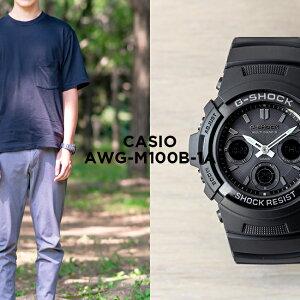 【10年保証】CASIO G-SHOCK カシオ Gショック AWG-M100B-1A 腕時計 メンズ キッズ 子供 男の子 アナデジ 電波 ソーラー ソーラー電波時計 防水 ブラック 黒 オールブラック