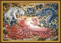 クロスステッチ刺繍キット四神図柄印刷DW0009