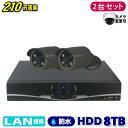 防犯カメラ 210万画素 4CH NVR レコーダー SONY製 IP ネットワーク カメラ 2台セット (LAN接続)HDD 8TB 1080P フルHD 高画質 監視カメラ 屋外 屋内 夜間撮影 1