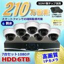 防犯カメラ 210万画素 8CH NVR レコーダー SONY製 ドーム型 IPカメラ 7台セット (LAN接続)HDD 6TB 1080P フルHD 高画質 監視カメラ 屋外 屋内 赤外線 夜間撮影 3.6mmレンズ 2