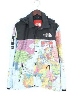 シュプリーム/SUPREME ×ノースフェイス 【14SS】【Expedition Coaches Jacket】MAP国旗コーチジャケットジャケット(S/ブルー調)【NO05】【メンズ】【131081】【中古】bb24#rinkan*B