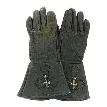 クロムハーツ/Chrome Hearts スモールCHクロスパッチレザー手袋(7 1/2/ブラック)【SJ02】【小物】【300181】【中古】bb33#rinkan*B