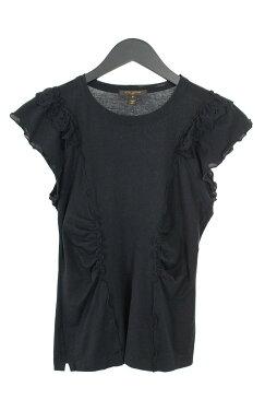 ルイヴィトン/LOUISVUITTON フラワーレースフリルデザインTシャツ(S/ブラック)【BS99】【レディース】【101181】【中古】【P】bb15#rinkan*B