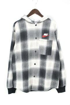 シュプリーム/SUPREME ×ナイキ/NIKE 【18AW】【Nike Plaid Hooded Sweatshirt】フードドッキングチェック長袖シャツ(M/グレー×オフホワイト)【HJ12】【メンズ】【501181】【中古】bb30#rinkan*S