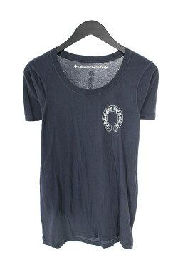 クロムハーツ/Chrome Hearts ラベルプリントTシャツ(L/ネイビー×ホワイト)【HJ08】【レディース】【311181】【中古】bb169#rinkan*B