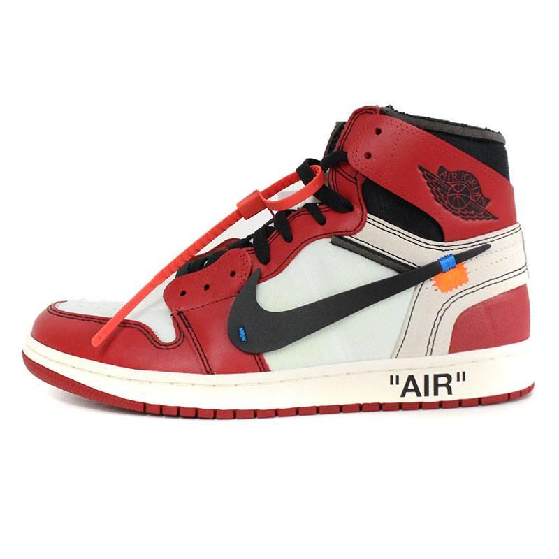 耐吉灰白NIKE OFF WHITE空氣喬丹1運動鞋(27.5cm紅×白)bb187#rinkan*S