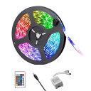 LEDテープ 12V 5M RGB 黒ベース 300連 SMD5050防水 調光 調色 リモコン操作 マルチカラー LED 間接照明 ...