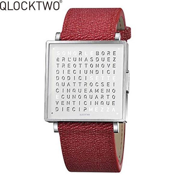 【2,000円OFFクーポン】クロックツー[QLOCKTWO]ショッピングローン無金利対象品クロックツー ウォッチ 35ミリ[QLOCKTWO W 35mm]ピュア レッド[PURE RED]QW35EN7BRLGREN 正方形 文字表示メンズ レディース【腕時計 時計】