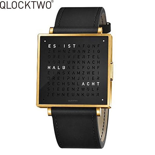 【2,000円OFFクーポン】クロックツー[QLOCKTWO]ショッピングローン無金利対象品クロックツー ウォッチ 35ミリ[QLOCKTWO W 35mm]ゴールド ブラック[GOLD BLACK]QW35EN6YGLSBLN 正方形 文字表示メンズ レディース【腕時計 時計】