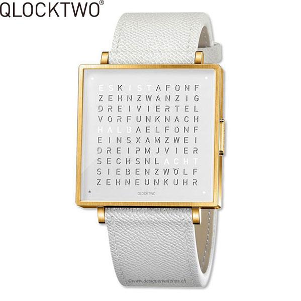 【2,000円OFFクーポン】クロックツー[QLOCKTWO]ショッピングローン無金利対象品クロックツー ウォッチ 35ミリ[QLOCKTWO W 35mm]ゴールド ホワイト[GOLD WHITE]QW35EN7YGLGWHN 正方形 文字表示メンズ レディース【腕時計 時計】