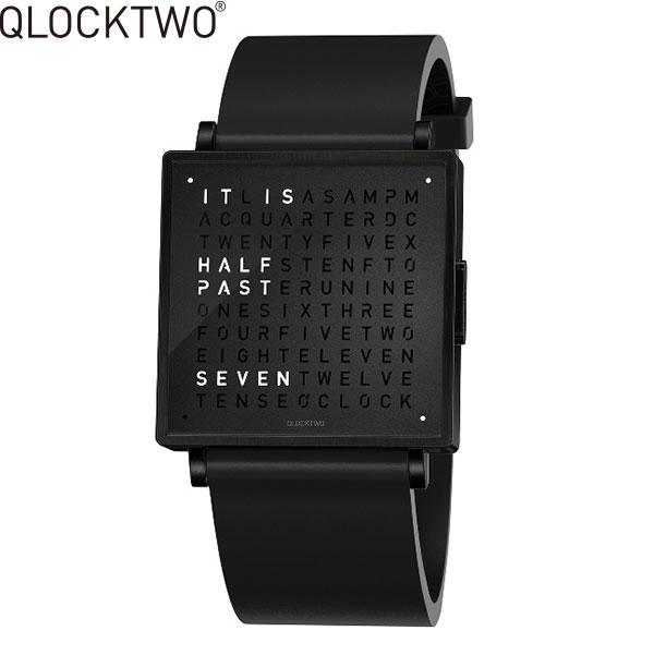 【2,000円OFFクーポン】クロックツー[QLOCKTWO]ショッピングローン無金利対象品クロックツー ウォッチ 35ミリ[QLOCKTWO W 35mm]ブラック スチール[BLACK STEEL]QW35EN6BLRUBLN 正方形 文字表示メンズ レディース【腕時計 時計】